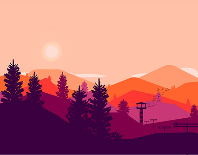 Mountains and forest 2D illustration