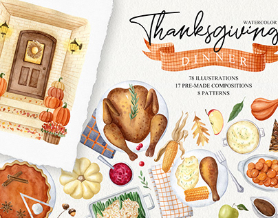 Thanksgiving dinner watercolor set