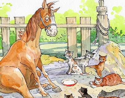 конь и кошки