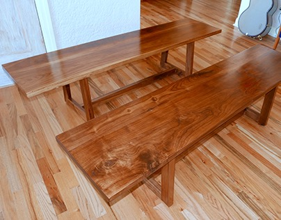 Benches of American black walnut