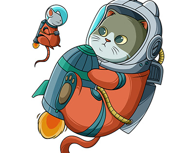 Cat and mouse astronaut