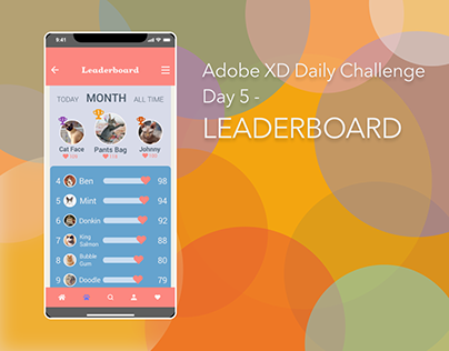 Adobe XD Daily Challenge Day 5 - Leaderboard