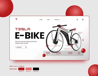 Tesla E-Bike Landing Page Design Concept