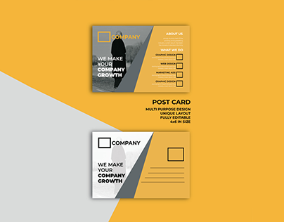 Minimalist Post Card Design custom mock up