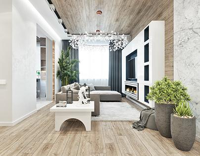 XO Design modern interior / S=104 m2