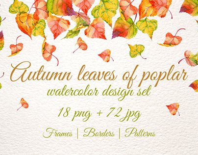 Autumn leaves of poplar PNG watercolor set