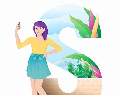 girl doing selfie on summer