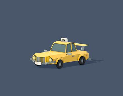 Taxi car low poly 3D