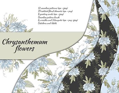 Floral design with vector Chrysanthemum flowers.