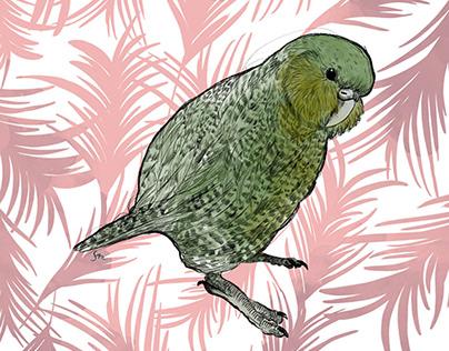 Kakapo mit Palmblättern