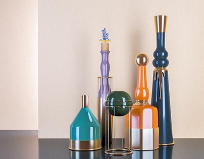 Copper Detailed Vases | Download - Morandi Set