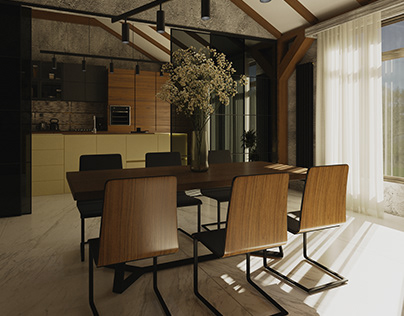 Kitchen and dining room in a country house
