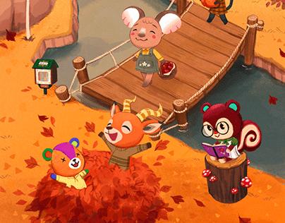 Animal Crossing Seasons Illustrations
