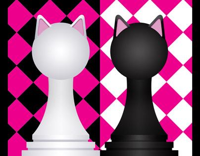 Ninjacat Chess Set : Black and White