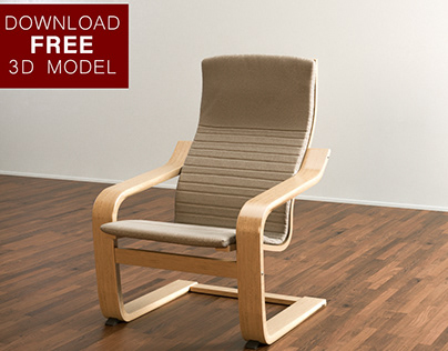 FREE POÄNG ARMCHAIR 3D MODEL