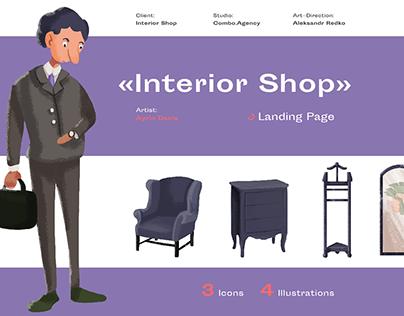 Illustration set for interior shop