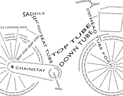 Bike shapes made of words