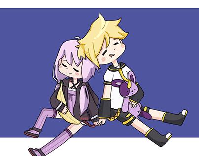 Yukari yuzuki and Len kagamine (FANART)