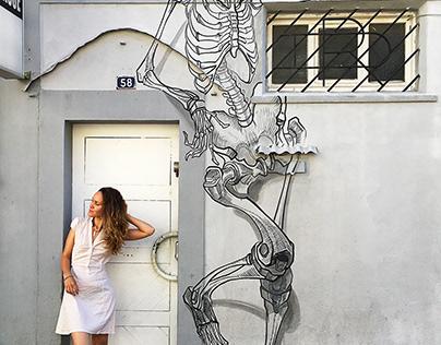 SKELETON street art