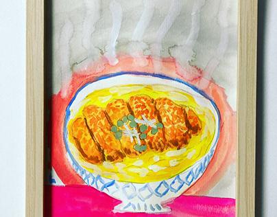 deep-fried pork cutlet rice bowl
