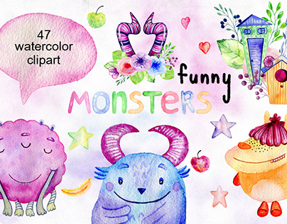 Watercolor funny monsters.