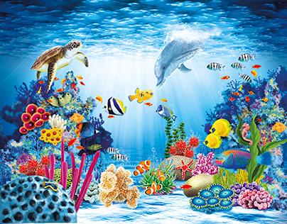 Digital Painting, Coral Reef, Packaging Design