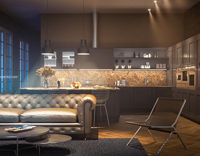 Two kitchen design, same layout