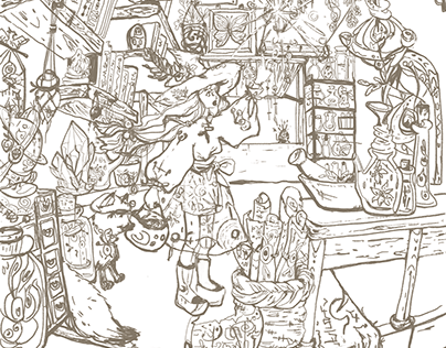 """""""Witch's Apothecary"""" Tried making coloring page."""