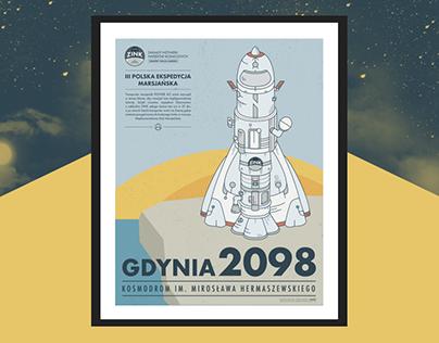 """Plakat """"Kosmodrom Gdynia 2098"""""""