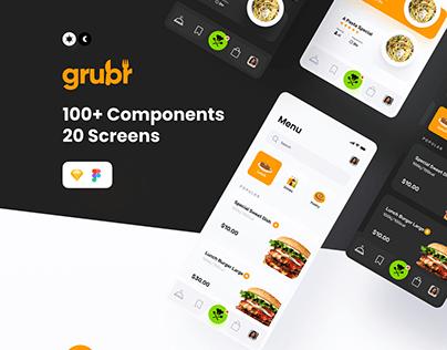 Grubr Food UI Card component Kit