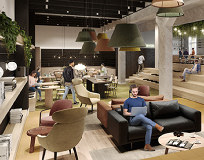 Chapters Co-living interior visuals