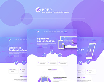 Popo - App Landing Page PSD Template