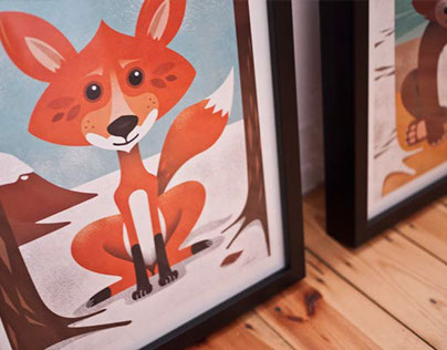 Animal Posters Fox Bear Lion