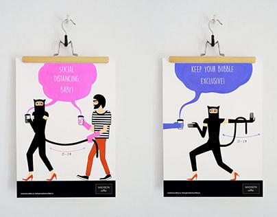 Social Distancing Poster Illustrations