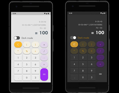 Ui Calculator Screen with Dark Mode
