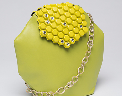 Leather Hexagon Handbag