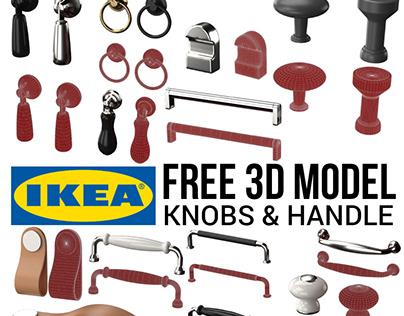 FREE 3D MODEL : IKEA KNOBS & HANDLES