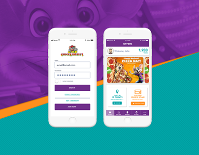 Chuck E. Cheese's More Cheese Rewards App Re-Design
