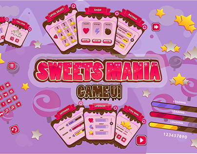 Sweet Mania Game UI Pack Icons Pop Ups Mobile Candy Des