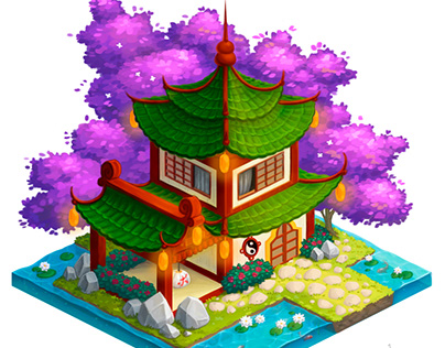 Japanese building in isometry for a game