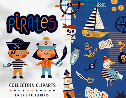 Graphic collection of cliparts with cute pirates