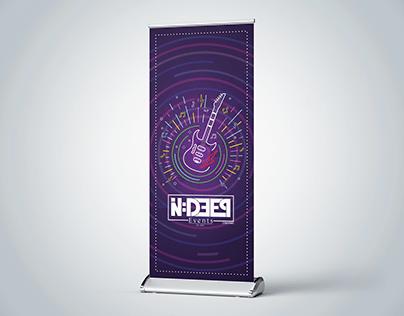 Rock music rollup banner design