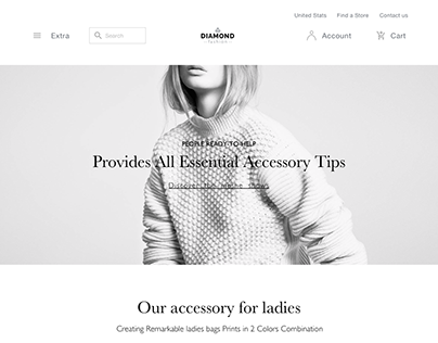 Diamond fashion home page template for sketch