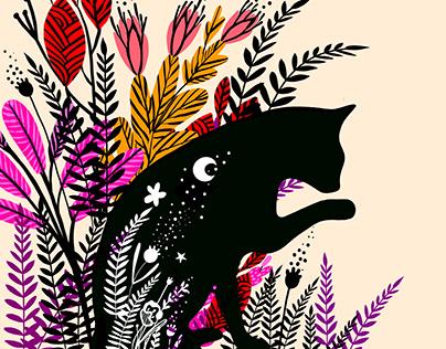 Floral Black Cat