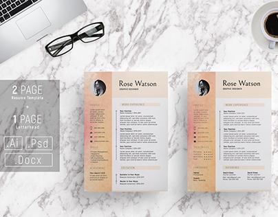 Sweet Watercolor Resume Template - CV/Letterhead