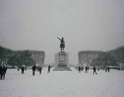Montpellier sous la neige