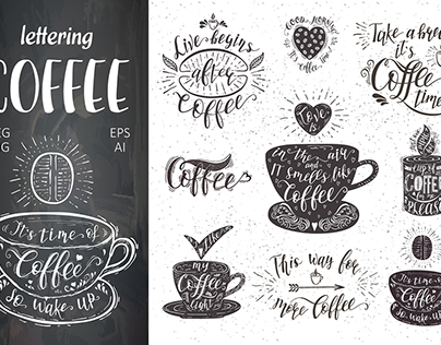 Quotes for coffee . Vector hand-drawn lettering.