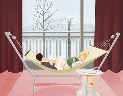 《梨夏的一天》——Ju(julin插画师)冬季插画,下雪插画,梨,生活插画,室内插画