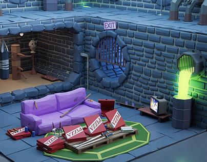 TMNT's lair Low Poly 3D