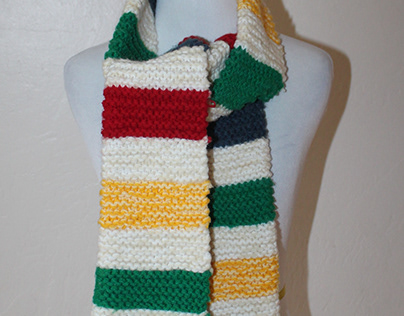 Colorful striped knit scarf